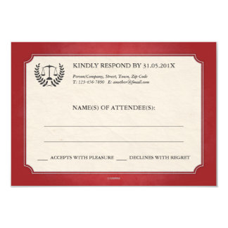 Red and Silver Legal/Law School Graduation RSVP 9 Cm X 13 Cm Invitation Card