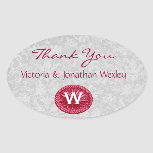Red and Silver Monogram Wedding Thank You G200 Oval Sticker