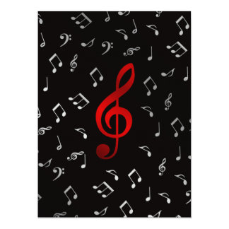 red and silver music notes 17 cm x 22 cm invitation card