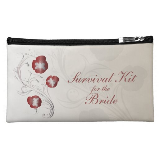 Red and Silver Pansy Brides Survival Kit Makeup Bags