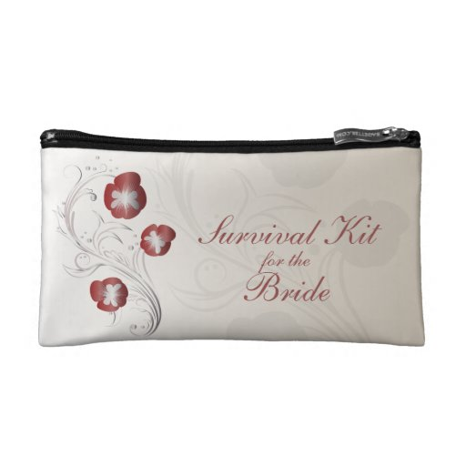 Red and Silver Pansy Brides Survival Kit Cosmetic Bag