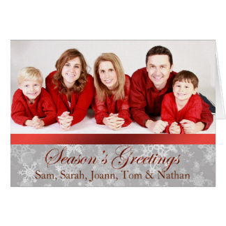 Red and Silver Photo Snowflake Christmas Card