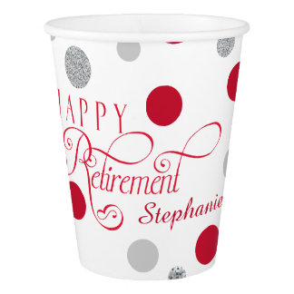 Red and Silver Retirement Party Paper Cup