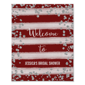 Red and Silver Welcome Poster Print