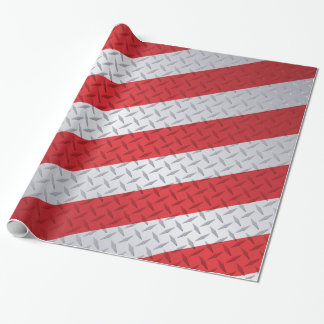 Red and Steel Christmas Stripe Diamond Plate Wrapping Paper