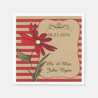 Red and Tan Stripe Floral Disposable Napkins