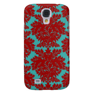 red and teal aqua bold intricate damask galaxy s4 cover
