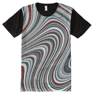 Red and Teal Blue Abstract Curvy Shapes All-Over Print T-Shirt