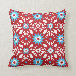 Red and Teal Blue Star Pattern Starburst Design Cushion