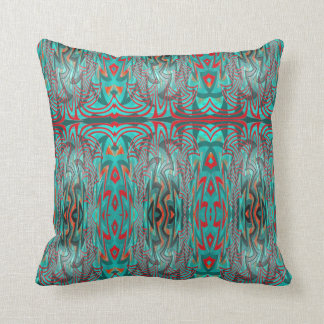 Red and Turquoise Abstract Pillow