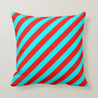 Red and Turquoise Stripes Pattern Pillow
