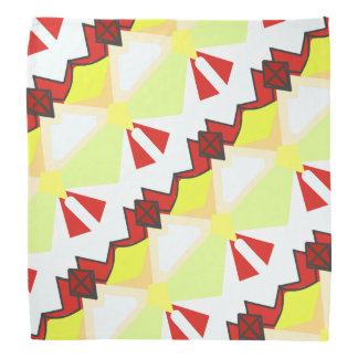 Red and white abstract diagonal geometry bandana