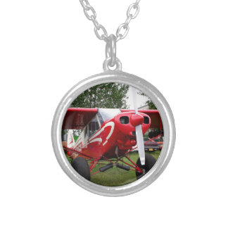 Red and white aircraft, Alaska Silver Plated Necklace