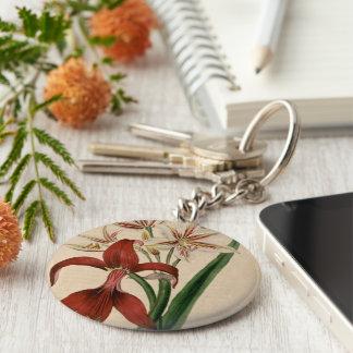 Red and White Amaryllis Flower Key Ring