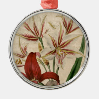 Red and White Amaryllis Flower Metal Ornament