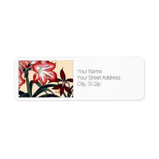 Red and White Amaryllis Flowers Botanical Art Return Address Label