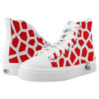 Red and white animal skin pattern high tops