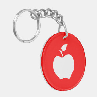 Red and White Apple Double-Sided Round Acrylic Key Ring