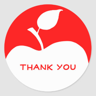 Red and White Apple Thank You Classic Round Sticker