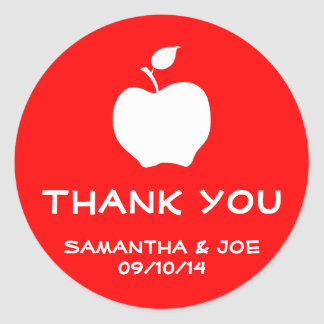 Red and White Apple Thank You Round Sticker