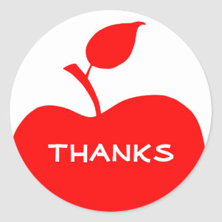 Red and White Apple Thanks Round Sticker