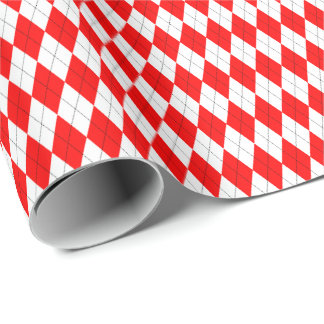 Red and White Argyle Wrapping Paper