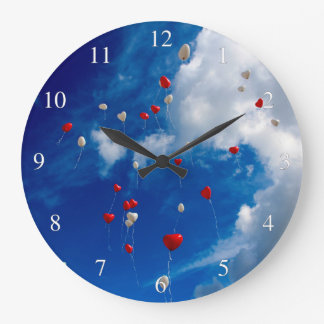 Red And White Balloons In The Sky Large Clock