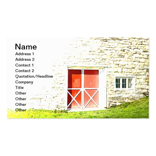 red and white barn doors for a stone building business card