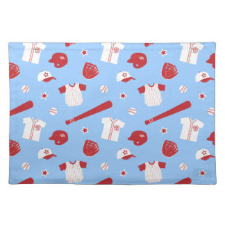 Red and White Baseball Theme Pattern Placemats