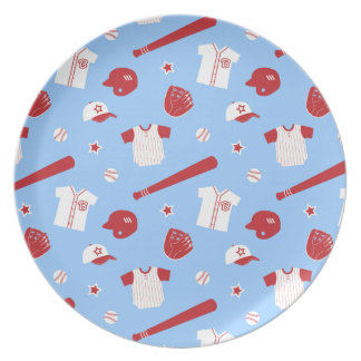 Red and White Baseball Theme Pattern Party Plate