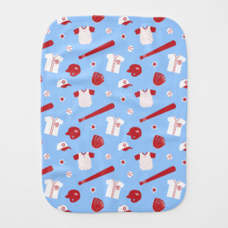 Red and White Baseball Theme Pattern Burp Cloths