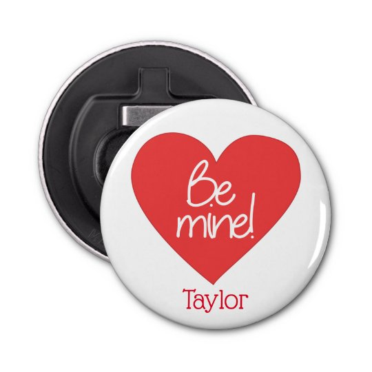 Red and White Be Mine Heart Bottle Opener