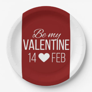 Red And White Be My Valentine Heart Paper Plate