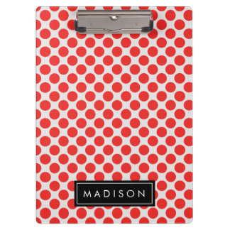 Red and White Big Polka Dots Monogram Clipboard