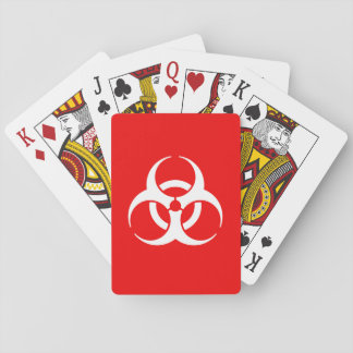 Red and White Biohazard Symbol Playing Cards