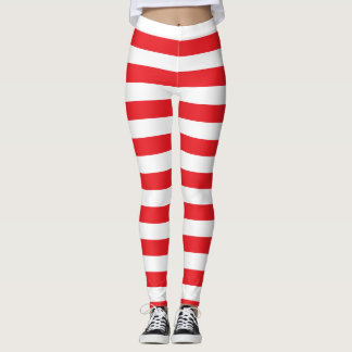 Red and White Bold Striped Leggings