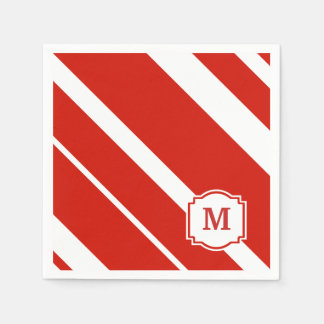 Red and White Bold Stripes Monogram Napkin Disposable Serviettes