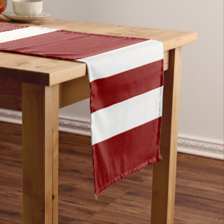 Red and White Bold Stripes Pattern Short Table Runner