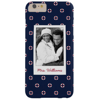 Red And White Buoy Pattern | Your Photo & Name Barely There iPhone 6 Plus Case