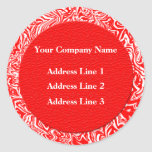 Red and White Business Address Labels Round Stickers