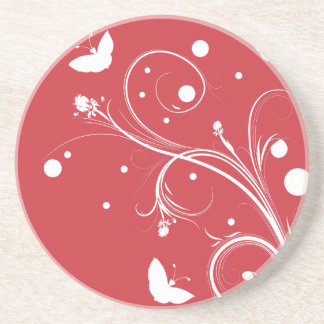 Red and White Butterflies and Flowers Drink Coaster
