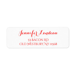 Red And White Calligraphy Name- Wedding Party Return Address Label
