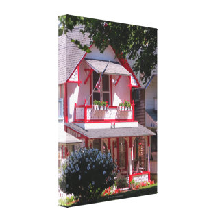 Red and White Campground Cottage-Martha's Vineyard Canvas Print