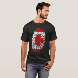 Red And White Canada Maple Leaf Thumb Print T-Shirt