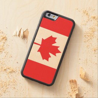 Red and White Canadian Flag with Maple Leaf Carved Maple iPhone 6 Bumper Case