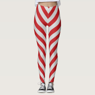 Red And White Candy Cane Striped Leggings