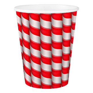 Red and White Candy Cane Stripes Paper Cup