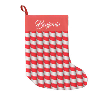 Red and White Candy Cane Stripes Small Christmas Stocking