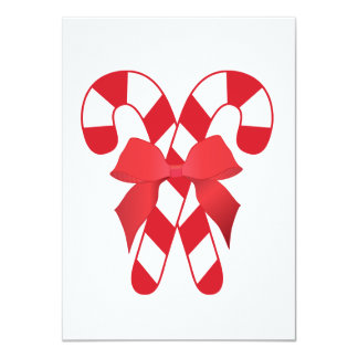"""Red and White Candy Canes Invitation 4.5"""" X 6.25"""" Invitation Card"""
