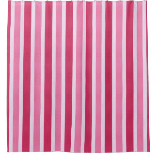 Red and White Candy Stripe Shower Curtain